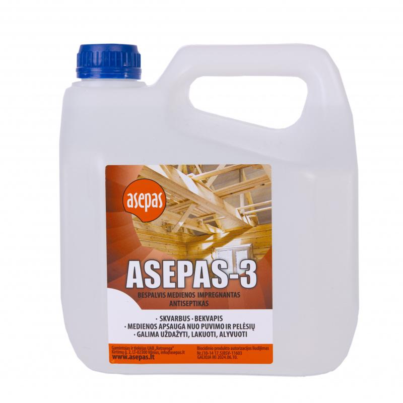 """""""Asepas-3"""", bespalvis antiseptikas apdailinei medienai, koncentratas skiedžiamas vandeniu 1:3 santykiu"""