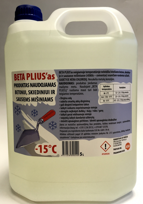 """BETA PLIUS'as"" produktas betonui / skiediniui"